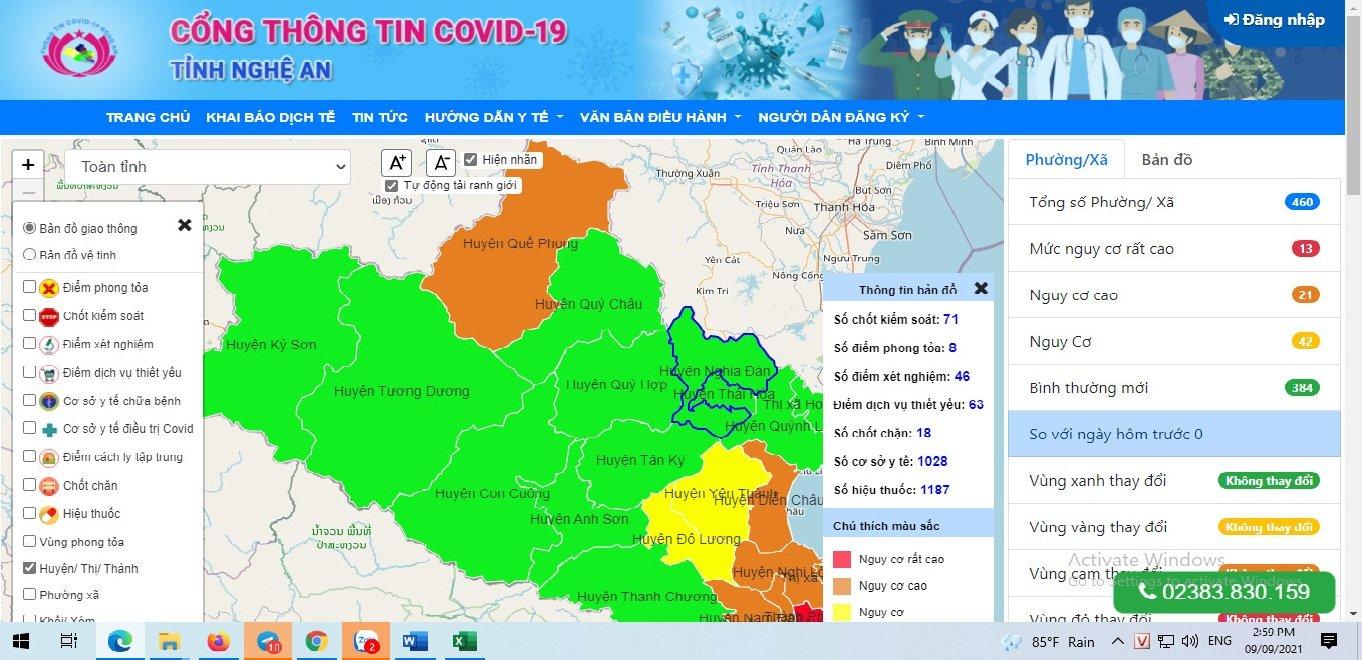 Cổng thông tin COVID-19 tỉnh Nghệ An chính thức hoạt động vào 13/9/2021